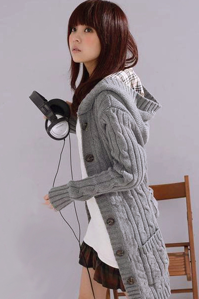 Cheap New Style O Neck Long Sleeves Single-breasted Grey Long Knitting Cardigan Sweater