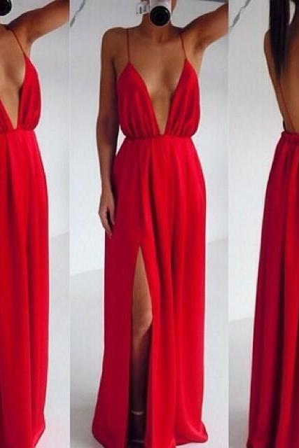 Sexy Deep V Neck Spaghetti Strap Sleeveless Backless Front Split Red Polyester A Line Floor Length Party Dress