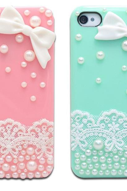 lace bow case pearl case bling bling case simple classy case iphone 4/4s/5/5s/5c
