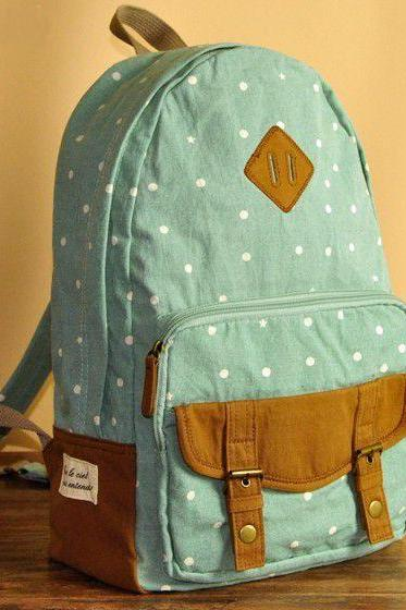 Green Polka Dots Backpack - B