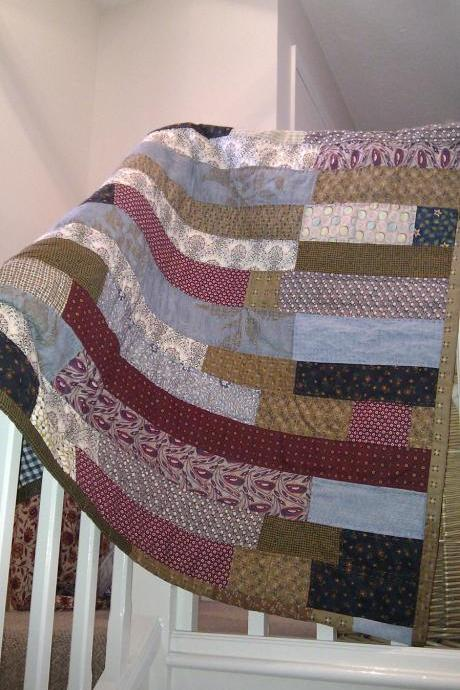 modern patchwork handmade quilt in stripes of blue burgundy and brown for your home quilt cover boys quilt lap quilt wall hanging