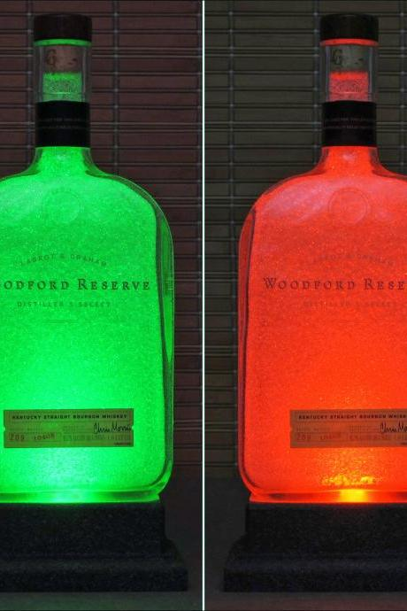 Woodford Reserve Kentucky Bourbon Whiskey Color Changing LED Remote Control Eco LED Bottle Lamp Bar Light