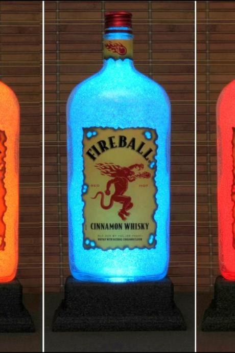 Fireball Cinnamon Whiskey Color Changing Bottle Lamp Bar Light LED Remote Controlled Eco Friendly LED -Bodacious Bottles-