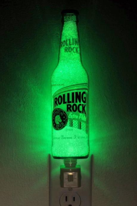 Rolling Rock Beer 12oz Night Light Accent Lamp- VIDEO DEMO- Eco LED...'Diamond Like' Glass Crystal Coating on interior