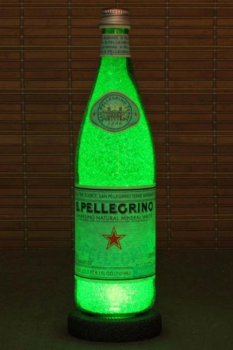 San Pellegrino 24 oz Bottle Lamp Bar Night Light Emerald Green Sparkle and Glow
