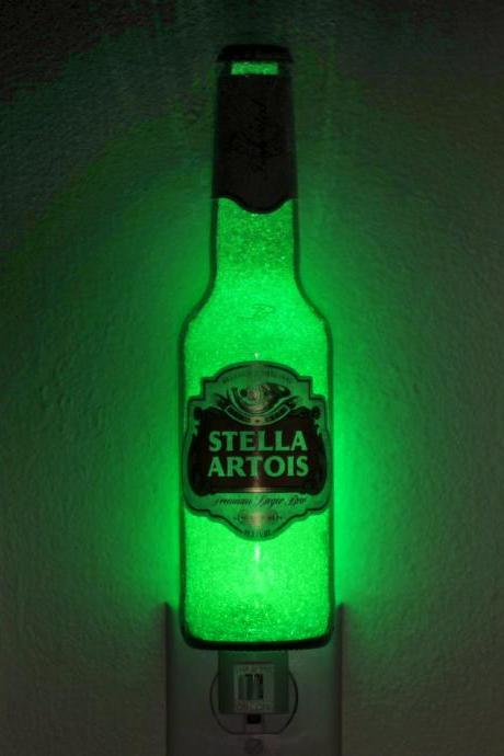 Stella Artois12oz Night Light / Accent Lamp- VIDEO DEMO- Eco LED...'Diamond Like' Glass Crystal Coating on interior