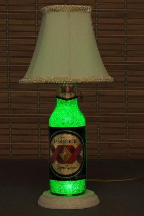 Dos Equis Beer Bottle Lamp/Bar Light- W/ Shade VIDEO DEMO /11 year LED - Intense Green Glow /'Diamond Like' Glass Crystals on Inside Surface