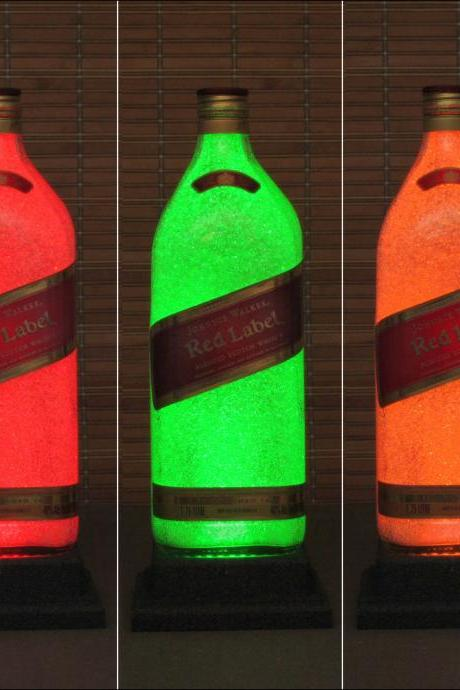 Johnnie Walker Red Big 1.75 Liter Color Changing LED Remote Control Eco LED Bottle Lamp Bar Light Bodacious Bottles-