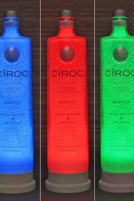Ciroc Coconut French Vodka BIG 1.75 Liter Remote LED Color Change Bottle Lamp Bar Light Mancave