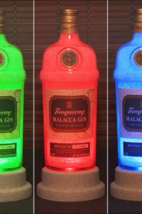 Tanqueray Gin Malacca Limited Edition Bottle Lamp Color Changing LED Remote Controlled Bar Light Intense Sparkle-Bodacious Bottles-