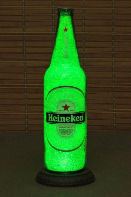 Big 24oz Heineken Beer Bottle Lamp/Bar Light / VIDEO DEMO-Intense Sparkle and Glow / 'Diamond Like' Glass Crystals on Inside Surface