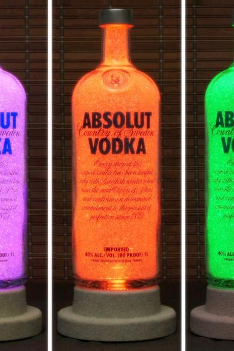 Absolut Vodka Color Changing LED Bottle Lamp Remote Control Bar Light Intense Sparkle-Bodacious Bottles-