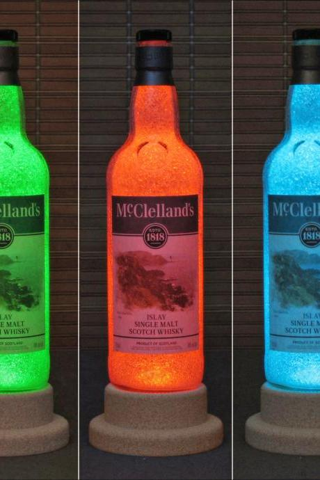 McClelland's Islay Single Malt Scotch Whisky Color Change LED Bottle Lamp Light Remote Bar Bodacious Bottles