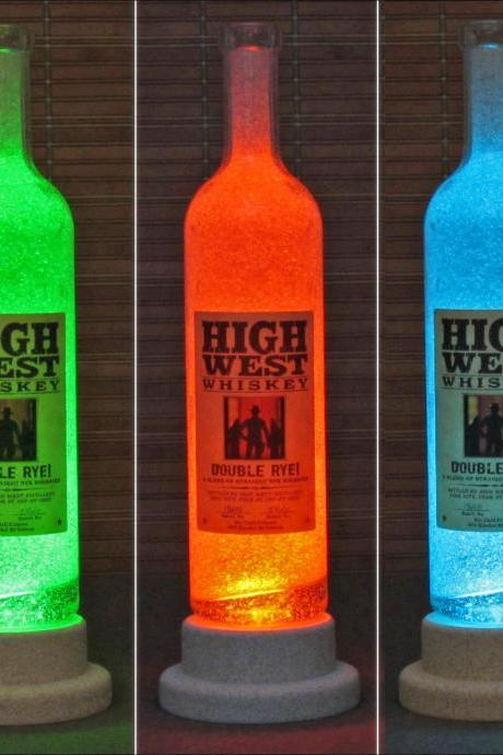 High West Rye Whisky Color Changing LED Remote Controlled Bottle Lamp Bar Light Fathers Day Bodacious Bottles-