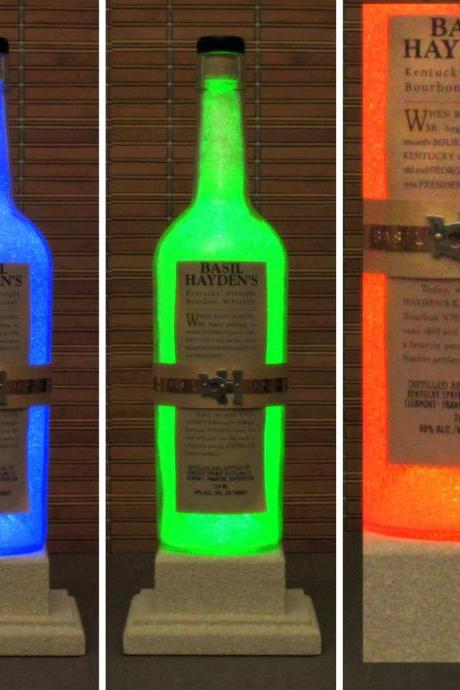 Basil Hayden Kentucky Whiskey Color Changing LED Remote Controlled Eco LED Bottle Lamp/Bar Light / Intense Glow -Bodacious Bottles-