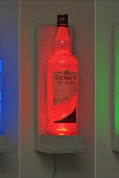 Dewars Irish Scotch Whiskey Wall Mount Color Changing LED Remote Controlled Sconce Bottle Lamp Bar Light Bodacious Bottles-
