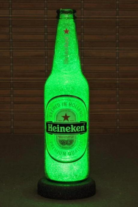 Heineken 12oz Beer Bottle Accent Lamp Night Light Bar Man Cave Sign Glow Sparkle Holland