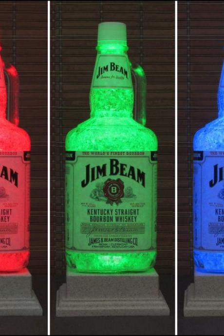 Big 1.75 Liter Jim Beam Bourbon Whiskey Bottle Lamp Color Changing Remote Controlled Eco Friendly LED Bar Lamp Light -Bodacious Bottles-