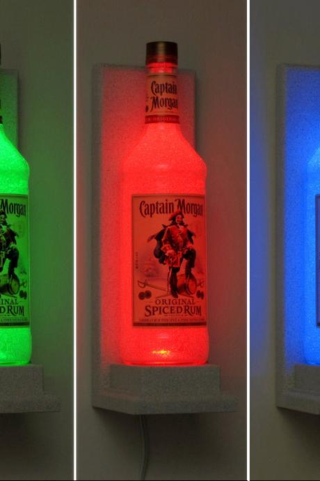 Captain Morgan Rum Wall Mount Color Changing LED Remote Controlled Sconce Bottle Lamp Bar Light Bodacious Bottles-