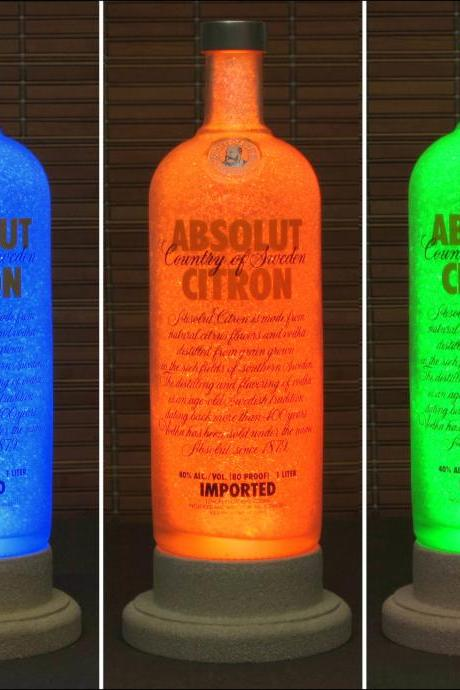 Absolut Citron Vodka Color Changing LED Bottle Lamp Remote Control Bar Light Intense Sparkle-Bodacious Bottles-