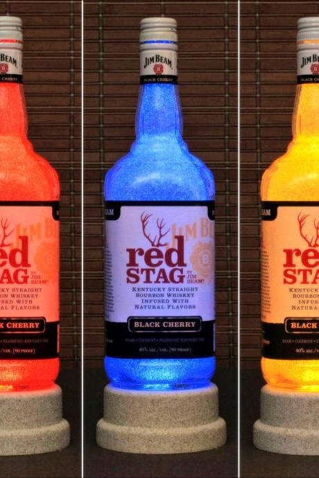 Jim Beam Red Stag Whiskey Color Changing LED Remote Controlled Eco Friendly rgb LED Bottle Lamp/Bar Light -Bodacious Bottles-