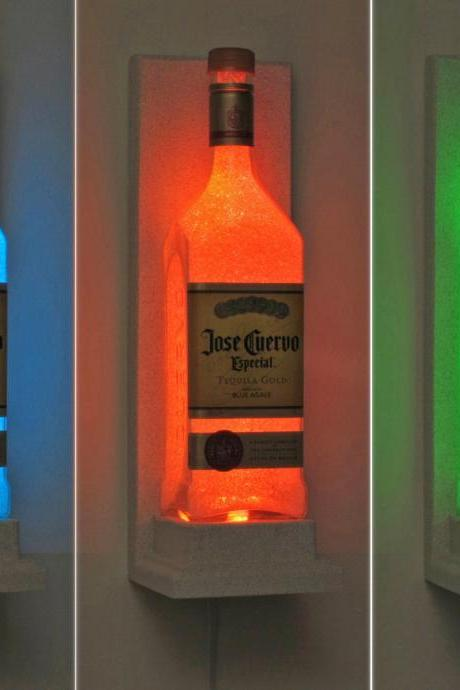 Jose Quervo Tequila Wall Mount Color Changing LED Remote Controlled Sconce Bottle Lamp Bar Light Bodacious Bottles-