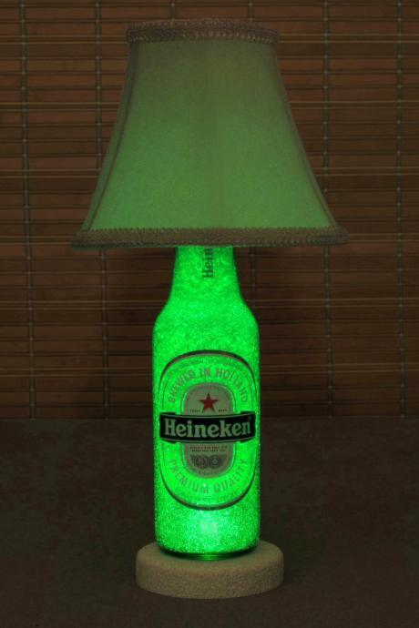 Heineken 12oz Beer Bottle LED Accent Lamp Bar Light- W/ Shade Intense Green Glow /'Diamond Like' Glass Crystals on Inside Surface