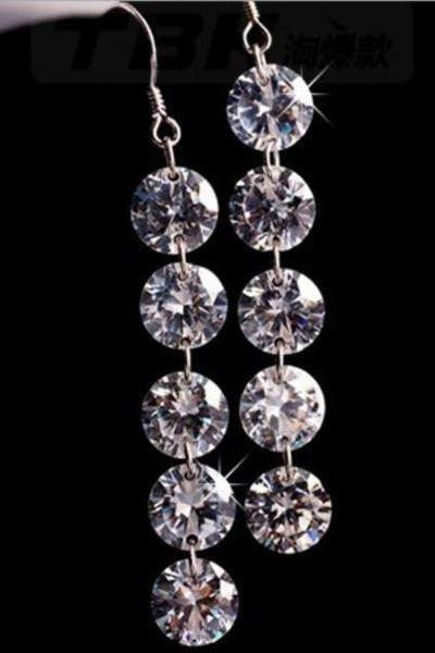 925 Sterling Silver with Big 5 Shiny Cubic Zircon Drop Earrings