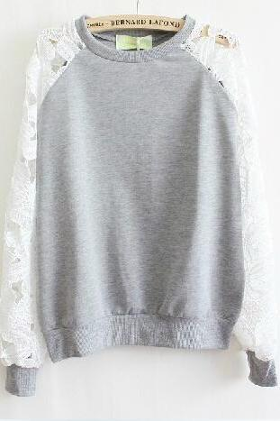 Lace long-sleeved sweater #091601AD