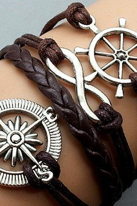 Compass Bracelet Infinity Bracelet Ship Wheel Charm Bracelet Dark Brown Korean Wax Cords Dark Brown Leather Charm Bracelet Personalized Bracelet