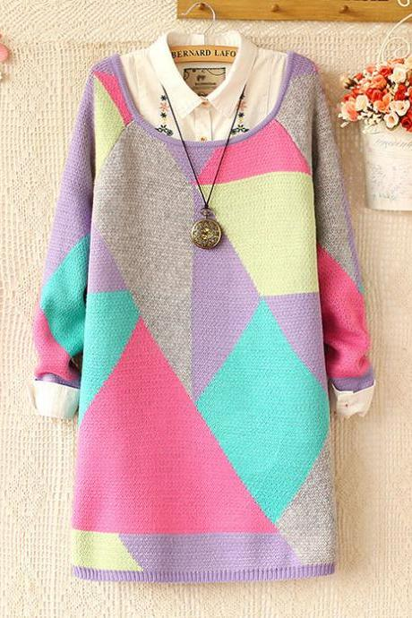 New Fashion Sweet Round Neck Color Geometry Sweater&Cardigan