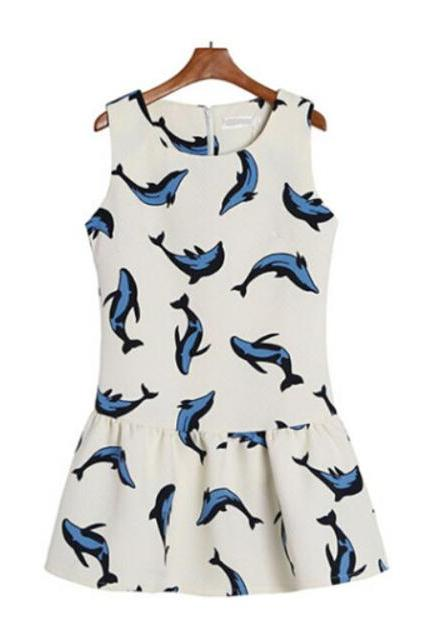 Full Dolphin Printed Dress with Pleated