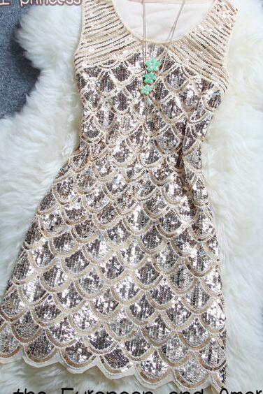 Stylish Atmosphere Beaded Sequined Dress