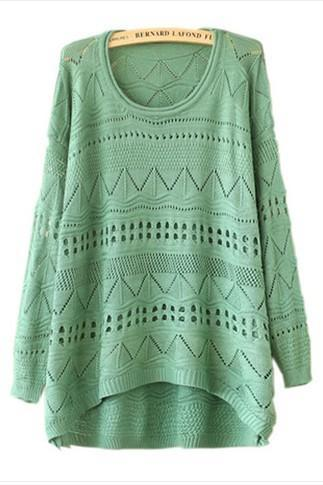Women's loose round neck long-sleeved knit sweater #TY091202BG