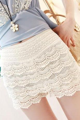 Elasticated Waistband High Waist Crochet Lace Short Pants Trousers [grxjy561128]