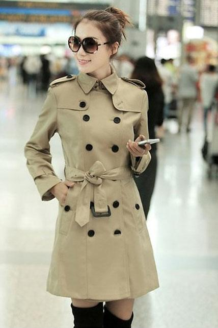 Work Style Double Breasted Trench Coat With Belt - Khaki