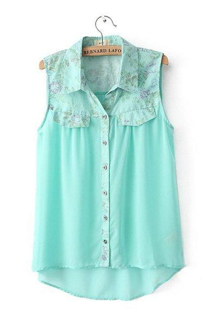 Cotton Shirt Lapel Stitching Chiffon Shirt Blouse Shirt Vest Female