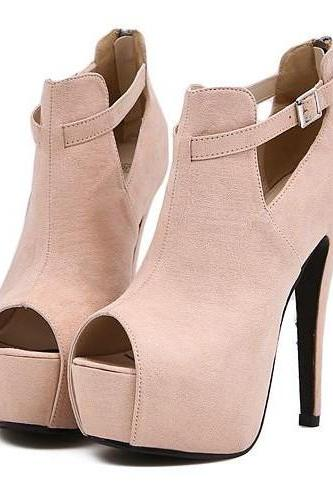 Cute Apricot Peep Toe High Heel Platform Pumps