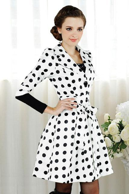 High Quality Polka Dots Print Turndown Collar Half Sleeve Trench Coat