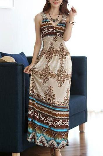 Sexy V Neck Print Design Ankle Length Dress