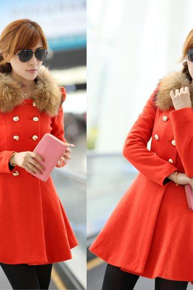 Woolen Double Button Fur Collar Coat