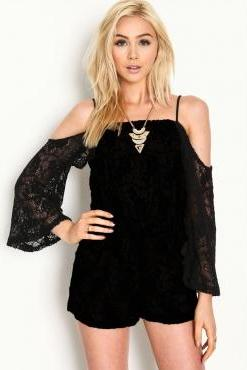 Cheap Sexy Off The Shoulder Long Sleeves Solid Black Floral Lace One-piece Regular Jumpsuit