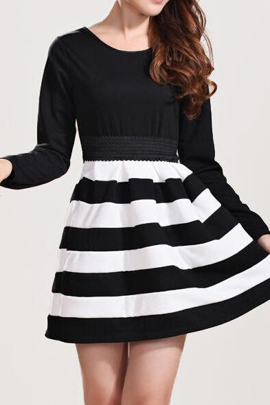 High-grade long-sleeved striped dress #HE091604HV
