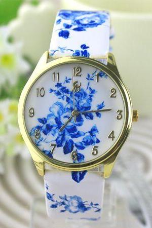 Fashion teenage blue floral leather woman watch