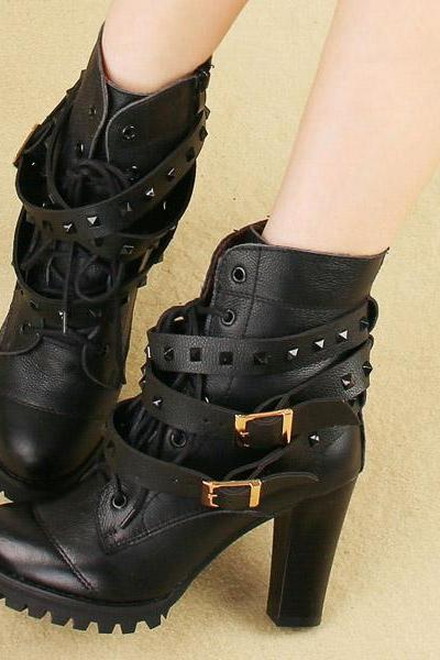 Lace Metal Buckle Rivet Motorcycle Boots