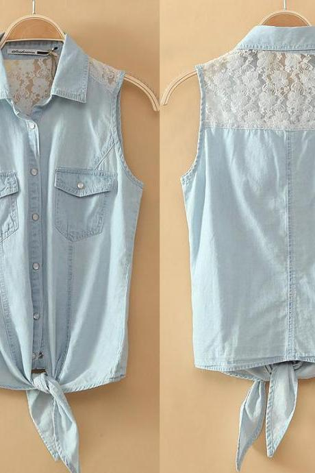Lace Stitching Denim Vest Thin Section