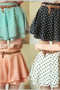 Pleated Polka Dot Chiffon Divided Skirt