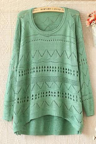 Loose round neck long-sleeved knit #091611AD