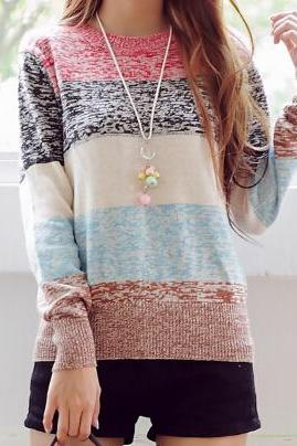 Round neck long-sleeved knit sweater #091612AD