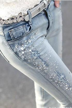 Slim Sequined Pants Feet BAII